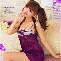 2in1 Sexy Princess Dress ชุดนอนเซ็กซี่ผ้ามันลื่นสีม่วงแต่งลูกไม้อก พร้อมจีสตริง