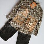 Qkidscent ชุด3ชิ้้น เสื้้อเชิ้ตแขนยาว+กล้ามพิมพ์+กางเกงขายาว ขนาด 12M, 18M, 24M ใส่ได้ถึง 3-4ปี