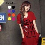 เสื้อยืดแฟชั่นตัวยาว (Size M : ผ้าเนื้อนุ่ม) ลาย New York City II สีแดง