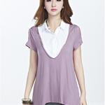 เสื้อผ้าไซส์ใหญ่คอปกสีขาวตัดต่อผ้ายืดสีม่วงเว้าแขน (2XL,3XL)