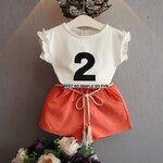 เสื้อ+กางเกง สีส้ม แพ็ค 5ชุด ไซส์ 7-9-11-13-15