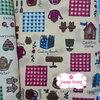 ผ้าคอตตอนไทย 100% 1/4ม.(50x55ซม.) พื้นสีน้ำตาลอ่อน ลายCountry Home