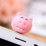 จุกเสียบ iphone4/4s/samsung hippoสีชมพู silicone