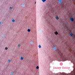ผ้าทอญี่ปุ่น 1/4เมตร พื้นสีชมพู ลายจุดสี่เหลี่ยมเล็กๆสีฟ้า&น้ำเงิน