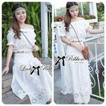 Lady Chrissie Sweet Bohemian Embroidered Off-Shoulder Top and Skirt Ensemble Set