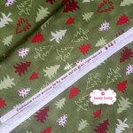ผ้าคอตตอนญี่ปุ่น 100% 1/4ม.(50x55ซม.)ลายต้นคริสต์มาส