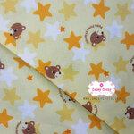 ผ้าคอตตอนญี่ปุ่น 100% 1/4ม.(50x55ซม.) พื้นสีเหลือง ลายหมี