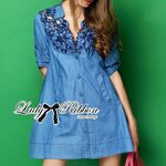 Lady Rosalie Smart Chic Embroidered Denim Shirt Dress