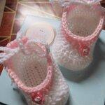 รองเท้าไหมพรมสีขาวชมพู น่ารักๆ