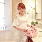 Premium quality !! New arrival Princess lady pearl bow horn sleeve Dress