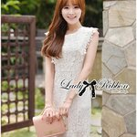 Lady Jessica Classic Lace Dress in Ivory