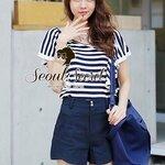 Chill Chill Navy Oranametal Fringe Stripy Blouse by Seoul Secret