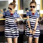 Lady Rita Casual Style Cut-Out Denim Striped Dress