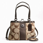 COACH SIGNATURE STRIPE MINI FRAMED CARRYALL F20947