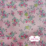 ผ้าคอตตอนไทย 100% 1/4 ม.(50x55ซม.) พื้นสีชมพู ลายพุ่มดอกไม้