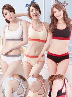 ✿ VINECO Japan-Korea หลังไขว้ ✿ (ยกทรง+กางเกงใน) อกมีฟองน้ำถอดออกได้ โชว์ได้สีสรรรูปแบบทันสมัย สายบ่ากุ๊นสี เซ็กซี่หลังไขว้