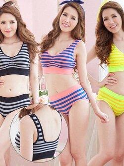 ✿ VINECO Japan-Korea  ลายซูกัส ✿ (ยกทรง+กางเกงใน) อกมีฟองน้ำภฃถอดออกได้ ทิ้งความซ้ำซากแบบเดิมๆด้วยการเพิ่มสีสรรลายซูกัส