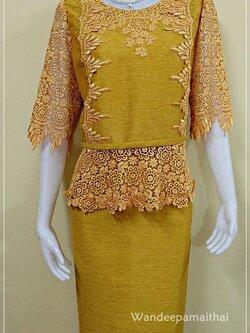 ชุดผ้าไหมญี่ปุ่นปักเลื่อม แต่งด้วยลูกไม้นอก เสื้อ+กระโปรงยาว เบอร 46 สีทอง