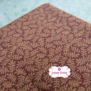 ผ้าคอตตอนไทย 100% 1/4 ม.(50x55ซม.) พื้นสีน้ำตาล ลายใบมะขาม