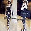 (สินค้าพร้อมส่งค่ะ) ชุดแฟชั่นเอี้ยมกางเกงขายาวเกาหลี ผ้าชีฟองพิมพ์ลายตัวการ์ตูน Disney+เกาะอก 1 ตัว – สีดำ