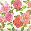 แนวภาพดอกไม้ ช่อดอกกุหลายสีชมพูบนพื้นครีม กระดาษลายเต็มแผ่น กระดาษแนพคินสำหรับทำงาน เดคูพาจ Decoupage Paper Napkins เป็นภาพ 4 บล๊อค ขนาด 25X25 ซม