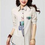 เสื้อเชิ้ตสไตล์เกาหลี แต่งผ้าลายเก๋ๆ มี 3 สี งานนำเข้าคุณภาพดี