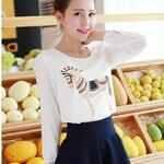 เสื้อสไตล์เกาหลี ด้านหน้าแต่งลายเก๋ๆ