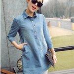 เสื้อยีนส์ตัวยาวสไตล์เกาหลีใส่เป็นมินิเดรสก็น่ารักฝุดๆ ปกเชิ้ตเจาะสาปโปโล เจาะกระเป๋าซายขวา แขนพับเบิ้ลติดอินธนูเก๋ๆ