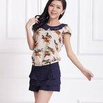 ชุดเซ็ทเสื้อ+กางเกงกระโปรงสไตล์เกาหลีสุดเก๋