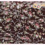 ผ้าคอตตอนไทยลายดอกไม้พื้นสีน้ำตาล
