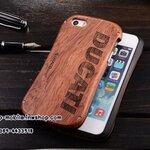 DRACO Design DUCATI Logo Aluminum Wood Hybrid Waistline Popular 2 in 1 Metal+Wood Bumper Case for iPhone5 5S