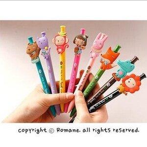 ปากกาเกาหลี รูปสัตว์ซิลิโคนน่ารัก แบบกด 0.38 mm.