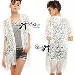Lady Ribbon's Made Lady Nicole Elegant Fringed Lace-Organza Poncho