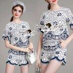 Seoul Secret Say's... Vivaa Saphire Embroider Texture Style Chic Set