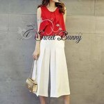 Red crum ple chiffon blouse and white wide pants set by Sweet Bunny