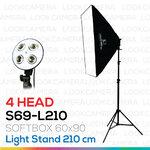 4 HEAD SOFTBOX6090 L210 ขนาด 60x90 ซม.ชุดไฟถ่ายภาพสินค้ากำลังสูง