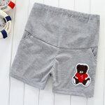 กางเกงคนท้อง ขาสั้นสีเทา ลายหมี ปรับเอวได้ size M, L ,XL
