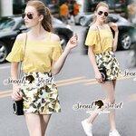 Seoul Secret Say's .... Lemon Smocking Open Cami Shoulder Yellow Set