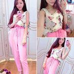 ชุดเซตเสื้อชีฟองลายดอกไม้+กางเกงเอวยางยืดสีชมพู [ขายส่ง 450.-*]