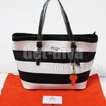 กระเป๋า Prada Shopping ลายขวาง ฐาน 12 สูง 10 กว้าง 5 ปาก 15 นิ้ว (AAA)