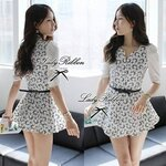 Grapic Black and White Blooming Flowery Mini Dress
