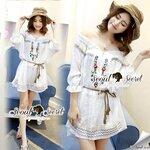 Seoul Secret Say's... Serrated Color Blossom Stickly Bohe Dress
