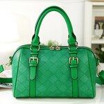 กระเป๋า axixi สีเขียว ลายตาราง พร้อมสายสะพายยาว