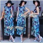 Lady Beatrice Eggplant Printed Beachwear Chiffon Maxi Dress