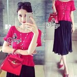 Sevy Two Pieces Of Moshino Princess Knit Top Together With Pleat Chiffon Long Skirt Red/Black