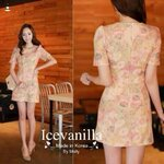 Romantic orange dress style korea