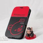 เคส Samsung S4 Rilakkuma  ริลัคคุมะ สีดำ-แดง ฝาพับ