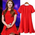 เดรสสีแดงแบบซูจี ดาราเกาหลี งานแบรนด์สไตล์ยุโรป [ขายส่ง 500.-]