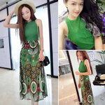 ชุดเสื้อ+กระโปรงสีเขียวพิมพ์ลาย [ขายส่ง420.-*]