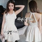 Lady Ribbon's Made Lady Annette Pearl Embellished Laser-Cut Apron Dress in White